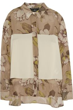 By Malene BirgerCronida crepe de chine-paneled printed silk-voile blouseclose up