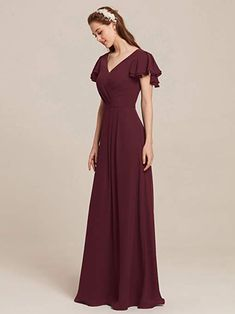 feb8681cb702 AWEI V Neck Chiffon Bridesmaid Dress A-Line Long Party Prom Evening Maxi  Gown Short Sleeves at Amazon Women s Clothing store