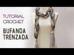 Bufanda trenzada a crochet, paso a paso - YouTube