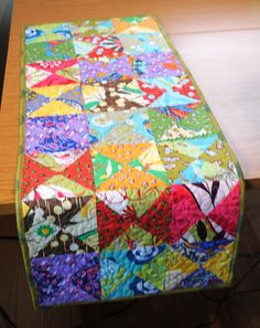 Quilted Table Runner Patchwork Bright Colors by OriginalsbyLauren, $37.00