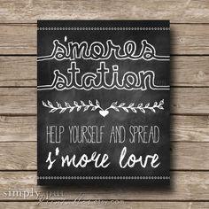 Smores Bar Sign | S'mores Station | Smore Love | S'more Chalkboard Rustic Wedding Sign | Smore Favor Sign | Digital File Instant Download by SimplyPutPrintables on Etsy