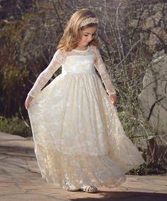 Another great find on #zulily! Buttercream Lace-Overlay Ruffle Dress - Toddler & Girls #zulilyfinds