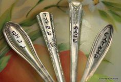 VINTAGE Silverware GARDEN MARKERS Silverware Garden Herb Markers Thyme, Catnip, Dill & Sage Set of 4 -  Garden Shabby Chic. $28.00, via Etsy.
