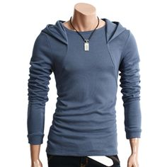 Mens Casual Long Sleeve Hoodie Shirt (010D-BLUE)