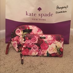 Kate Spade Grant Street Neda & Keri Bundle This is an authentic Kate Spade Grant Street floral Neda Wallet and Keri pouch in a Multirose print. Both have been used, but are in like new condition. kate spade Bags Wallets
