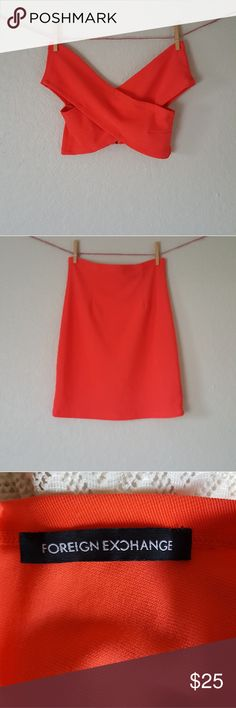 Red Orange dress Two piece sexy dress. Just perfect for friday night. Spandex. Perfect conditions. Just wore once. Size S/M Foreign Exchange Dresses Mini