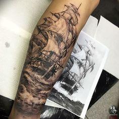 Pirate tattoo – Tattoo World Tattoos 3d, Trendy Tattoos, Body Art Tattoos, Tattoos For Guys, Cool Tattoos, White Tattoos, Ankle Tattoos, Arrow Tattoos, Tatoos