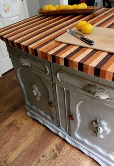 I want this for my kitchen island. I love the idea of converting old furniture into a kitchen island, love the striped counter even more. Diy Kitchen Island, Wooden Kitchen, Kitchen Redo, Kitchen Countertops, Kitchen Remodel, Kitchen Modern, Vintage Kitchen, Painted Furniture, Diy Furniture