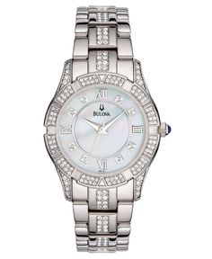 A stunning watch from Bulova with timeless glamor and style. Silver-tone stainless steel bracelet with crystal accents and round case. Crystal accents at bezel. Round mother-of-pearl dial with logo an