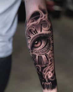 Chicano Tattoos Sleeve, Forarm Tattoos, Cool Arm Tattoos, Best Sleeve Tattoos, Badass Tattoos, Time Tattoos, Tattoo Sleeve Designs, Arm Tattoos For Guys, Leg Tattoos