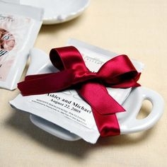 Tea Bag Caddy with personalized tea bag for tea party bridal shower favors