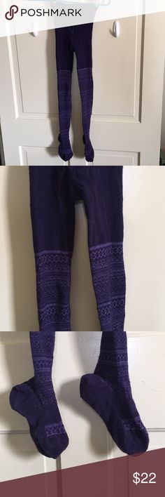 Purple Smartwool Tights Size small, fits more like XS. These are fun warm purple tight leggings. Minimal use. Crotch area intact. No wear in the footies. No apparent holes, I checked carefully. They stretch out when you put them on becoming somewhat sheer with the beautiful purple design.  🌲You will receive your purchase thoughtfully wrapped and noted with a card just for you!💜  🌲Contact me with questions. 🌲Offers Welcome Smartwool Accessories Hosiery & Socks