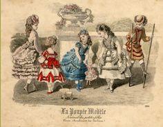 Leuk oud plaatje van een Frans mode tijdschrift voor poppen kleding.