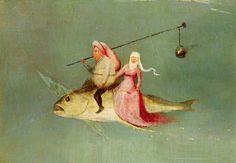 The Temptation of St. Anthony, right hand panel, detail of a couple riding a fish by Hieronymus Bosch from National Museum of Ancient Art