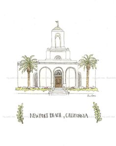 8 x 10 Archival print of my original watercolor, Newport Beach, CA Temple.    The print will be wrapped and shipped in a sturdy mailer to