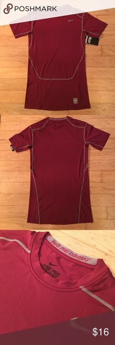 Nike Men's Pro Combat Compression Top Maroon/Gray The Nike Pro Combat Core 2.0 Compression Short sleeve top is a light weight performance top. Four way stretch jersey material that provides superior mobility and ultimate moisture management on game day. Nike Shirts Tees - Short Sleeve