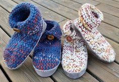 Button-Up Romeos Slippers - free pattern - knitting loom