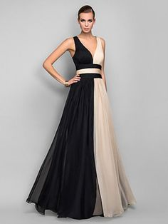 A-line/Princess V-neck Sleeveless Sash/Ribbon/Belt Floor-length Chiffon Dresses