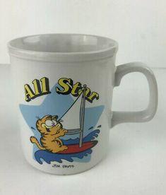 Garfield the Cat All Star Coffee Cup Mug 1978 Sailing Jim Davis- Vintage Star Coffee, Jim Davis, Vintage Cartoon, All Star, Coffee Cups, Sailing, Make It Yourself, Cat, Mugs
