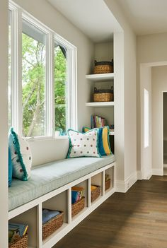 built in window seat design, blue and yellow, pop of color, basket storage, Allison Seidler Interiors Home Upgrades, House Extension Design, House Design, Villa Del Carbon, Window Seat Storage, Window Benches, Built In Bench, Building For Kids, Home Projects
