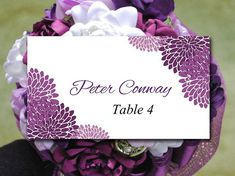 Chrysanthemum Wedding Place Cards Template - Purple Escort Card Template - Printable Name Card Wedding Table Card - Plum Wedding Download