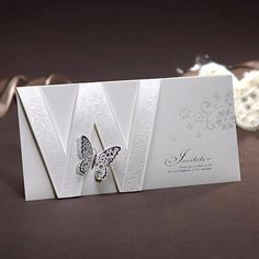 "Product Details when folded : 21cm x 10.5cm (8.27"" x 4.13"") when opened : 21cm x 31.4cm (8.27"" x 12.36"")     INCLUDED IN THE BASE PRICE: Invitation White Premium Envelope Return..."