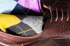 leather shoe and argyle sock - Argyle sock at the top of leather shoe
