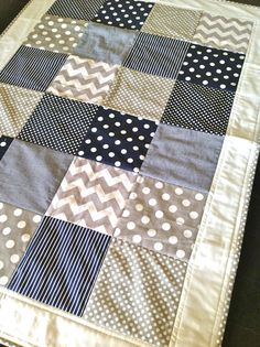 Baby Boy Crib Quilt in modern navy and grey by AlphabetMonkey …