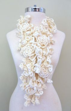RoseOnie Scarf, Ivory Crochet Scarf - Hand Knit scarf. Rose and Lace design made with  Merino Wool