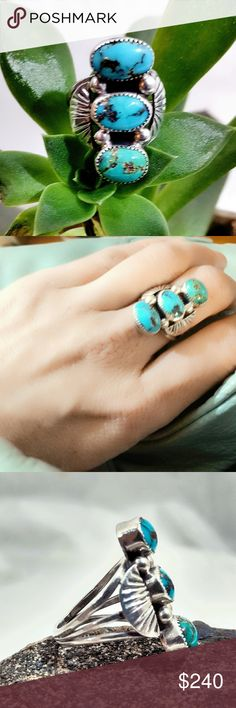 Vintage Navajo Sterling Triple Turquoise Ring-7 Outstanding Vintage Old Pawn Navajo Triple Stone Turquoise Sterling Silver Ring-Size 8. Gorgeous detail. Unsigned, as most Old Pawn jewelry is. Tests positive for Sterling Silver. Excellent condition. Vintage Jewelry Rings