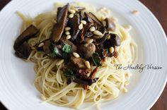 Mushroom Spaghettini – The Healthy Version Meat Lovers, Portobello, Taste Buds, Spaghetti, Stuffed Mushrooms, Veggies, Pasta, Dinner, Healthy