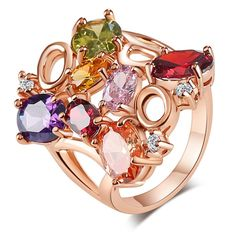LUALA Unique Design Rose Gold Plated Mona Lisa Ring for Female Colorful Cubic Zircon Bijouterie Fashion Jewelry Rings For Women