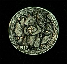 """Hobo Nickel """"Nuts About Christmas"""" Squirrel by Howard Thomas Coin Copper Inlay"""