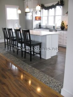 Awesome Dark Ideas : Awesome Dark Ocean Pebble Tile Kitchen Floor Accent Image id 15151 - GiesenDesign. Love the transition from wood - tile. Kitchen Redo, Kitchen Tiles, Kitchen Flooring, New Kitchen, Kitchen Remodel, Room Kitchen, Stylish Kitchen, Kitchen Dining, Laminate Flooring