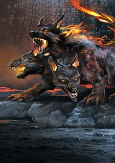"""Cerberus, Jarek Nocon Hound of Hades created for the """"Heroes"""" game. The illustration is part of the bonus set of cards. Dark Fantasy Art, Fantasy Wolf, Fantasy Artwork, Mythical Creatures Art, Mythological Creatures, Magical Creatures, Fantasy Wesen, Fantasy Beasts, Demon Dog"""