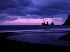 """Sunset At Vik by Ben  H., via Flickr : """"A river flows into the ocean after sunset in Vik, Iceland."""""""