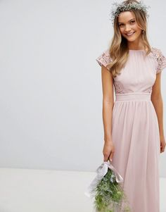 Buy TFNC Maxi Bridesmaid Dress with Scalloped Lace and Open Back at ASOS. With free delivery and return options (Ts&Cs apply), online shopping has never been so easy. Get the latest trends with ASOS now. Affordable Bridesmaid Dresses, Modest Bridesmaid Dresses, Lace Bridesmaids, Bridesmaid Outfit, Modest Dresses, Lace Maxi, Maxi Dress With Sleeves, Tulle Dress, Lace Dress