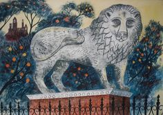 Emily Sutton, stone lion, lucca 1  watercolour