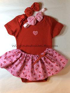 Valentine heart skirt set onesie newborn by Wigglesandwishes