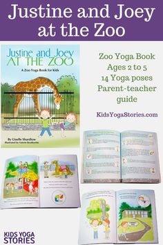 Join Justine and her brother, Joey, as they experience all the zoo has to offer. Kids will engage with this book as they watch the characters feed a giraffe, pose like a lion, and eat ice cream! This zoo yoga book Kids Yoga Poses, Yoga Poses For Beginners, Yoga For Kids, Yoga Books, Yoga Lessons, Kids Moves, Fun Activities For Kids, Learning Activities, Kids Story Books