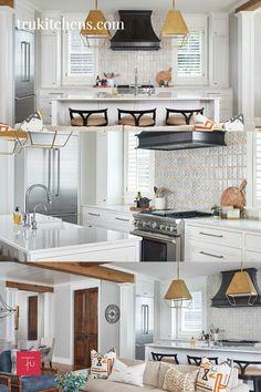 This white transitional kitchen features a black range hood, gold pendant lighting and unique patterend tile backsplash. Black Range Hood, Hickory Hills, Modern Cottage, Super White, Transitional Kitchen, Floor Space, White Paints, Hampshire, Modern Rustic