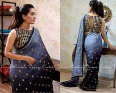 Attractive Gray & Black Pading Georgette Embroidery Work Saree - 1 new message - Saree Jacket Designs, Saree Blouse Neck Designs, Saree Blouse Patterns, Fancy Blouse Designs, Sari Design, Modern Saree, Stylish Blouse Design, Blouse Models, Collor