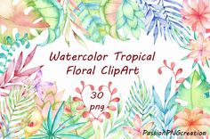 Watercolor Tropical Floral Clipart Tropical Leaves Clip art