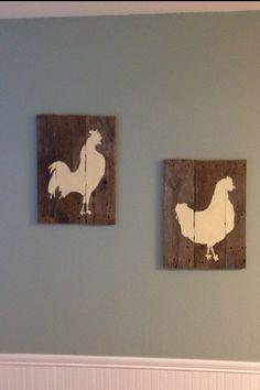 Pallet wall art chickens