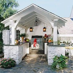Cook outdoors in style by transforming your backyard or patio into a unique outdoor kitchen for entertaining space surrounded by nature. Backyard Kitchen, Outdoor Kitchen Design, Outdoor Rooms, Outdoor Living, Outdoor Decor, Outdoor Kitchens, Outdoor Fun, Better Homes And Gardens, Gazebos