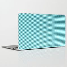 Houndstooth White & Teal small Laptop & iPad Skin by Julie's Thingummies - $30.00 Hounds Tooth, Dog Teeth, Laptop Skin, Fabric Design, Fabrics, Ipad, Houndstooth, Fabric, Textiles