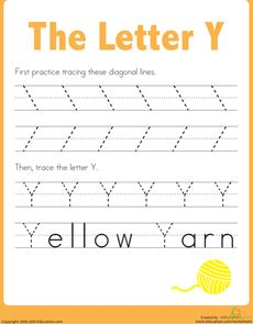 Practice Tracing the Letter Y Worksheet