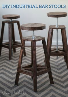 The adjustable height of these industrial-style bar stools makes them perfect for your entertaining space. This advanced DIY project gives you a step-by-step tutorial to follow.