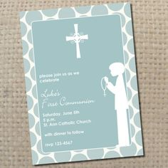 first communion silhouette invitation for boy  you by FinePrints, $15.00