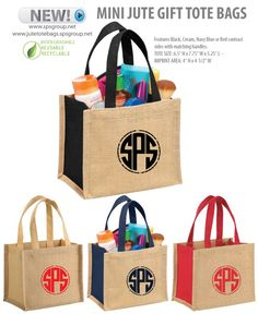 Mini Jute Gift Tote Bags. Features contrasting side panels with matching handles. Eco-branding. Biodegradable, Reusable & Recyclable.